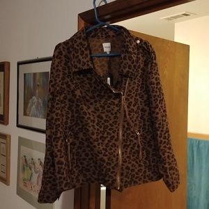 Kensie Jeans lt denim leopard print moto jacket 2x